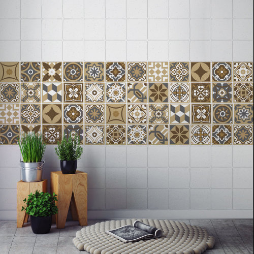 Walplus Tile Dark Bronze Wall Sticker Decal (Size: 10m x 10cm @ 24pcs)