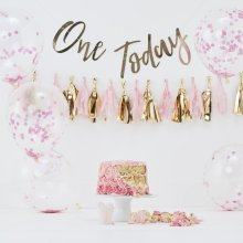 1st Birthday Pink Cake Smash Kit Balloons Backdrop Party Hat Tassel Garland