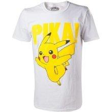 Pokemon Pikachu Pika Raised Print Mens T-Shirt XXL White Model. TS408066POK-2XL