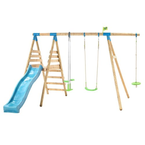 TP Toys Galapagos Wooden Swing Set and 8FT Slide With Monkey Seat 3 Years+ Colour Green and Blue