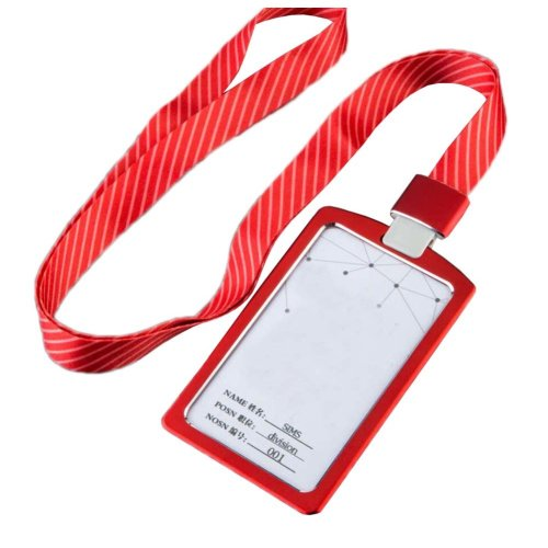 Aluminum Alloy Vertical Style ID Card Badge Holder with Neck Lanyard Strap 3PCS, 39