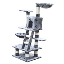 Car Play Tree 122 cm Grey with Paw Prints