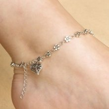 Tibetan Silver Plated Flower Heart Ankle Bracelet Anklet Adjustable