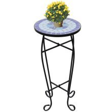 Mosaic Side Table Plant Table Blue White