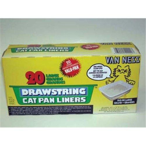 Van Ness Plastic Molding Drawstring Cat Pan Liners 20pk Ivory Large - DL2-20