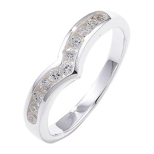 Sterling Silver Channel Set Wishbone Cubic Zirconia Ring - Size J