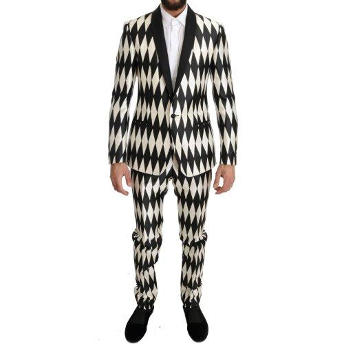 Dolce & Gabbana Black White Silk MARTINI Slim Fit Suit