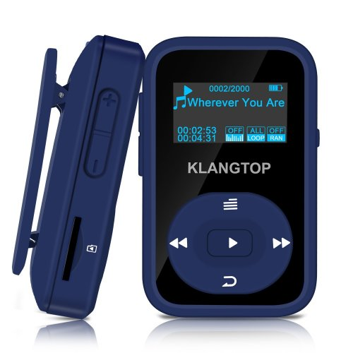 MP3 Player Sport Clip KLANGTOP Bluetooth Mini Music Players 8GB with FM Radio Voice Record 30 Hours Playback, Blue