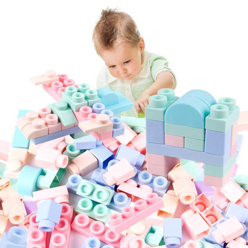 Set of 40 Colourful Kids Soft Silicone Building Blocks