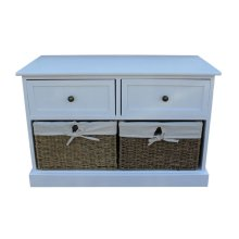 2 Drawer Wooden White Hallway Bench with Seagrass Baskets