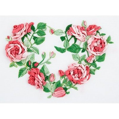 Rose Heart Embroidery Kit by Panna - living picture - ribbon stumpwork JK-2114