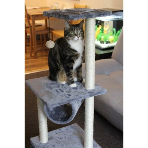 PawPrints Deluxe Cat Scratching Post Three Levels With Hideaway