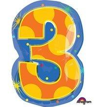 Confetti Dots Number 3 Junior Shape Foil Balloons 14/35cm W x 20/50cm H S60 -