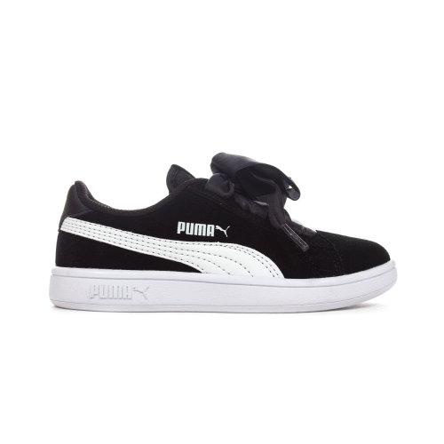 Puma Smash V2 Ribbon Suede Junior Girls Trainer Shoe Black/White