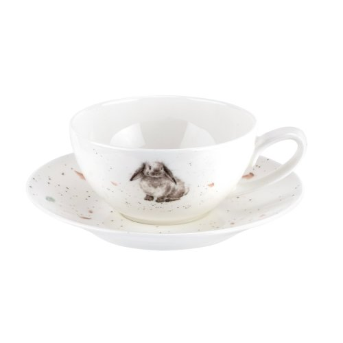 Wrendale Cup and Saucer-Small (Rabbit), Bone China, Multi Coloured, 10.4 x 12.8 x 5.4 cm