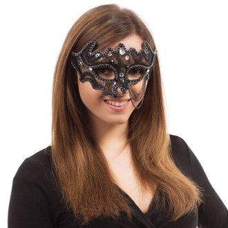 Bristol Novelty Black Decorative 3/4 Eye Mask