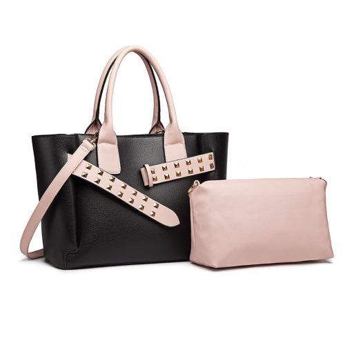 (Black/Pink) 2pc Miss Lulu PU Leather Handbag & Pouch Set