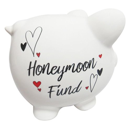 White Ceramic Piggy Bank with Black Honeymoon Fund Lettering and Red Hearts by Happy Homewares