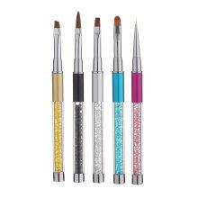 Rhinestone Nail Art Brush Pen Metal Acrylic Handle Gradient Carving Powder UV Gel Liner With Cap