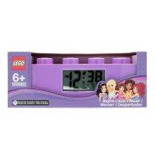 Lego Plastic Friends Brick Alarm Clock Purple LCD screen 12hr display