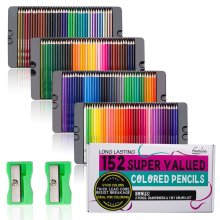 Feela 152 Colouring Pencils, Coloured Pencils Set with Pencil Sharpener