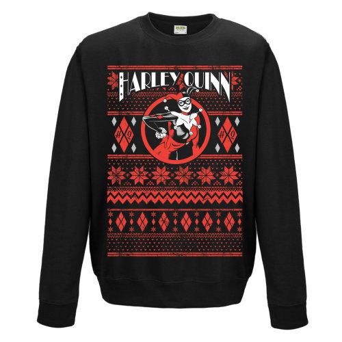 Extra Large Adult's Harley Quinn Christmas Jumper -  harley quinn dc fair isle sweatshirt comics christmas sweater crewneck xl mens black