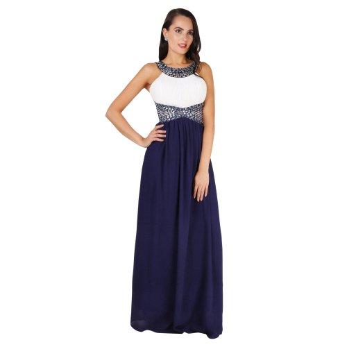 Contrast Diamante Prom Maxi Dress