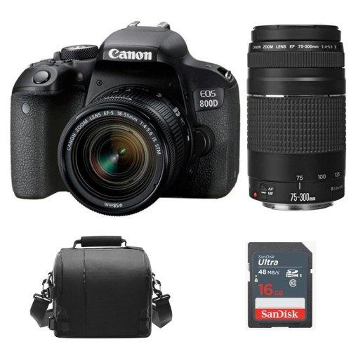 CANON EOS 800D +EF-S 18-55mm F4-5.6 IS STM+EF 75-300mm+Bag+16G SD card