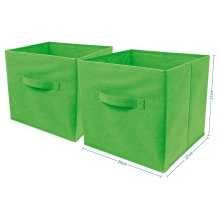 2 x Green Large Foldable Square Canvas Storage Box Collapsible Fabric Cubes Kids Home