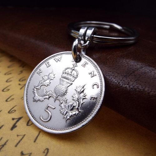1969 5 Pence Coin Keyring 50th Birthday Gift