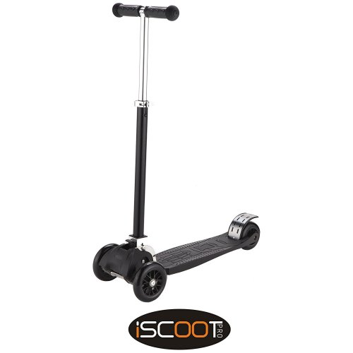 iScoot® Pro v2 Tilt Kickboard Mini T-Bar 3 Wheel Kick Scooter Bobbi Board for Boys / Girls / Children - Black