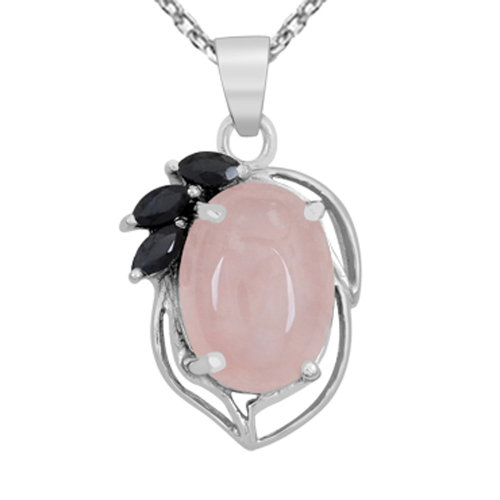 5de71bd63 12.6 Ct Rose Quartz and Sapphire Pendant By Orchid Jewelry Rose Quartz  Jewellery Rose Quartz Pendant Necklace Sterling Silver Necklace Pink Pendant  on OnBuy