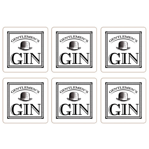 Gentleman's Gin Set of 6 Coasters, White
