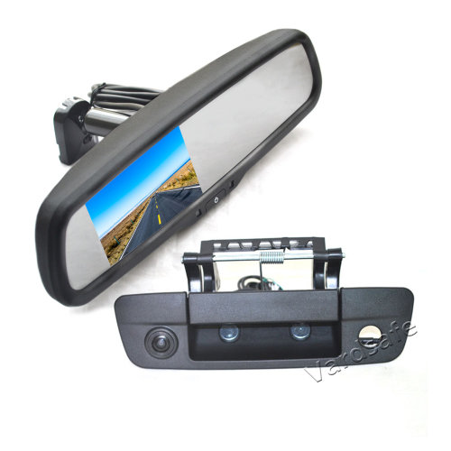 Vardsafe Tailgate Reverse Backup Camera + Replacement Rear View Mirror Monitor for Dodge Ram 1500 2500 3500 (2009-2018)