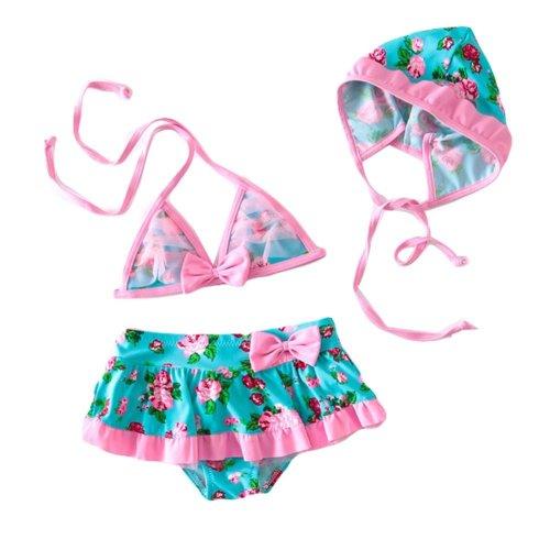 Floral Halter Top Girls Two-Piece Swimsuit Beachwear, 19-22.5 kg