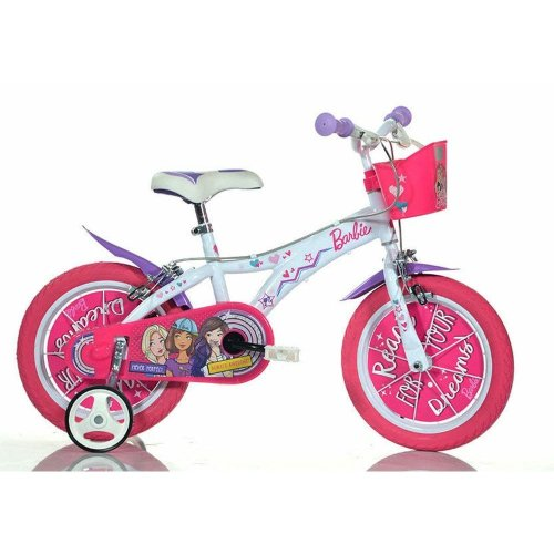 Dino Barbie Pink Kids Girls Bike with Basket
