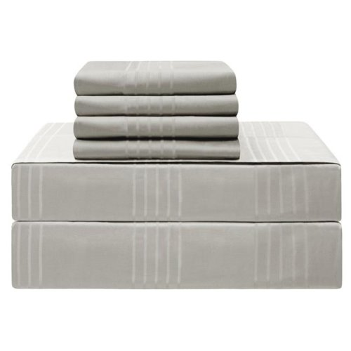 Jean Pierre YMS008230 Premium 420 Thread Count 100 Percent Cotton Sheet Set, Silver - Queen - 6 Piece