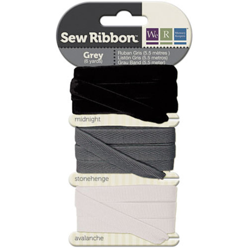 """We R Memory Keepers Sew Ribbon .375""""X6yds-Gray"""