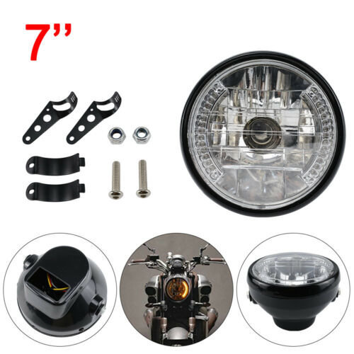 12v 7 INCH MOTORCYCLE MOTORBIKE HEADLIGHT HEADLAMP ROUND HALOGEN H4 BULB SIDE
