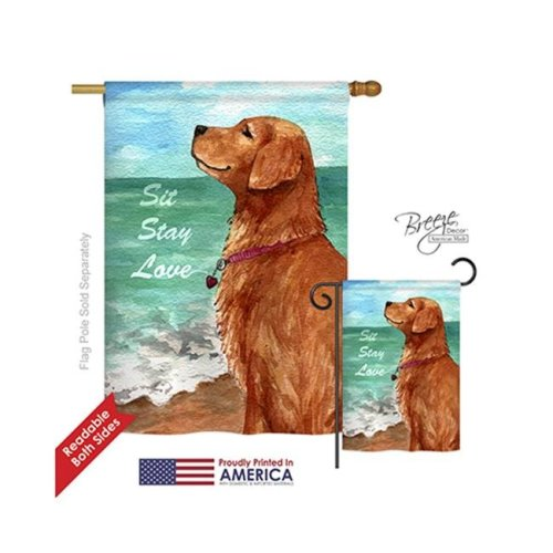 Breeze Decor 10084 Pets Golden Stay Love 2-Sided Vertical Impression House Flag - 28 x 40 in.