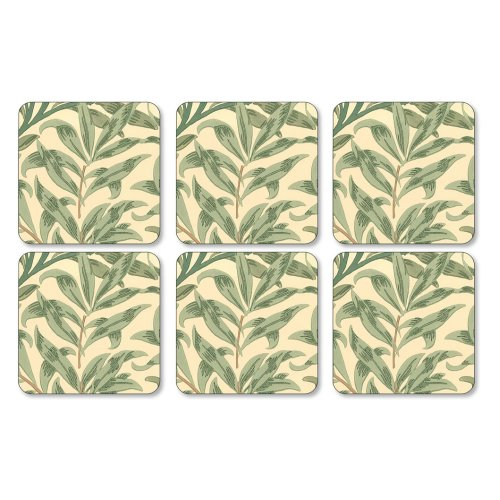 Pimpernel Willow Boughs Green Coasters, Set of 6