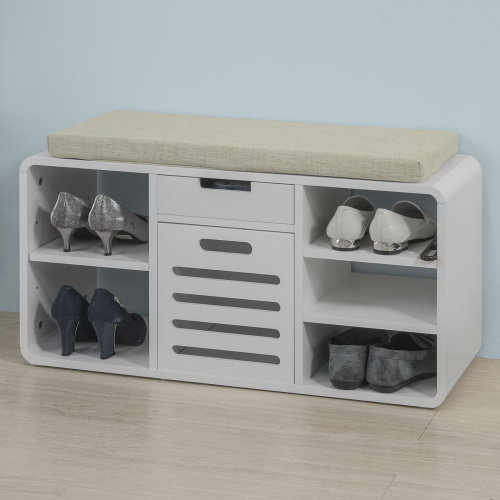 SoBuy® FSR54-W, Hallway Shoe Rack Shoe Bench Shoe Storage Cabinet with Seat Cushion