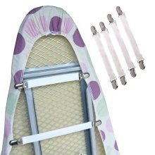 4 Ironing Board Cover Clip Fasteners Tight Fit Elastic Brace/Ties/Straps/Grips