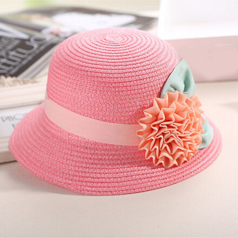 1b596b96e4c1b ... Hat Stylish Fashion Women s Girl s Single Flowers Beach Straw Sun Cap  pink ...