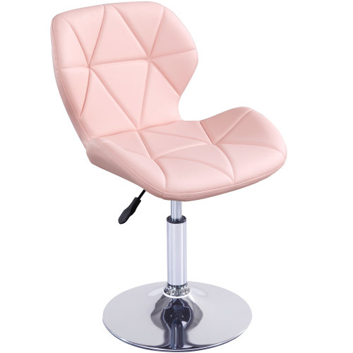 (Pink) Cushioned Swivel Chair | Small Adjustable Computer Chair