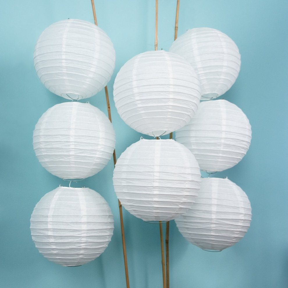 Tmade 12 Pack 16 White Paper Lanterns For Birthday Baby Shower Wedding Party Garden Home