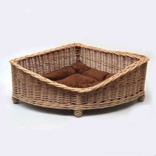 Luxury Wicker Dog Pet Corner Basket Small