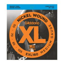 D'Addario EXL160 Electric Nickel Wound Bass Strings, Long Scale, Medium 50-105