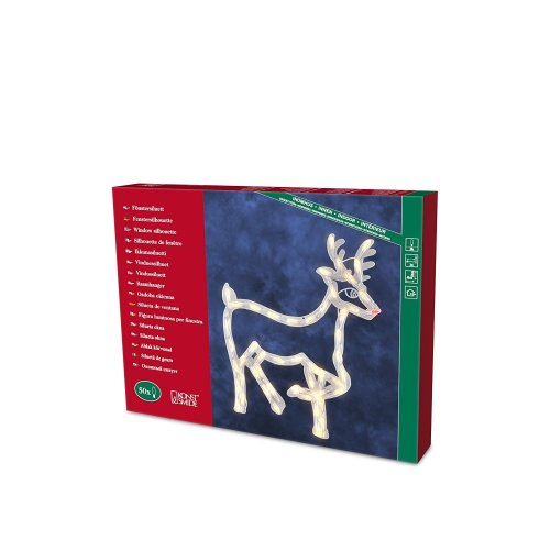 "Konstsmide 2174-000 Window Silhouette""Reindeer""/ For Indoor (IP20)/ 230V Inside/ 50 Replaceable Bulbs/Cable, White"
