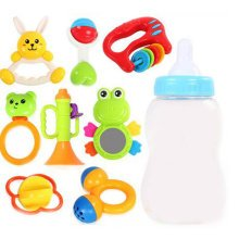 Teeth Biting Educational Toys Teether Hand Bell Toys Newborn Gift Set for Babies, 8 Pcs